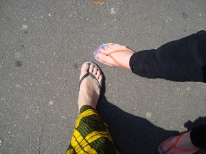 Looking cool in our thongs